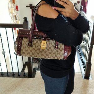 Burgundy Studded Gucci Bamboo Bullet Handbag